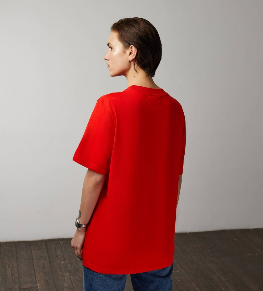 PLAIN OVERSIZED T‑SHIRT (WOMEN) - RED - 3