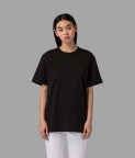 PLAIN OVERSIZED T-SHIRT (WOMEN) - BLACK - 1